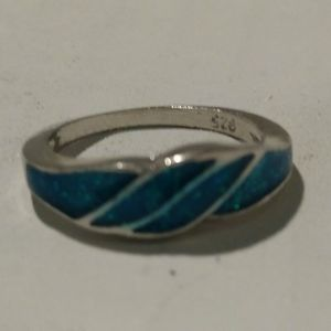 Silver/Faux Turquoise Ring